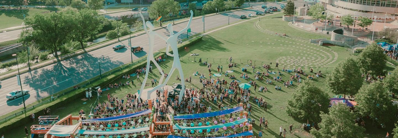 Birds eye view of a festival in Sculpture Park